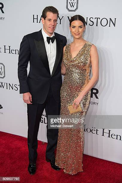 Cameron Winklevoss and model Natalia Beber attend the 2016 amfAR New York Gala at Cipriani Wall Street on February 10 2016 in New York City