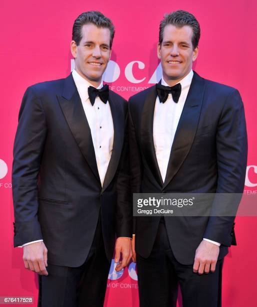 Cameron Winklevoss and Tyler Winklevoss arrive at the MOCA Gala 2017 at The Geffen Contemporary at MOCA on April 29, 2017 in Los Angeles, California.