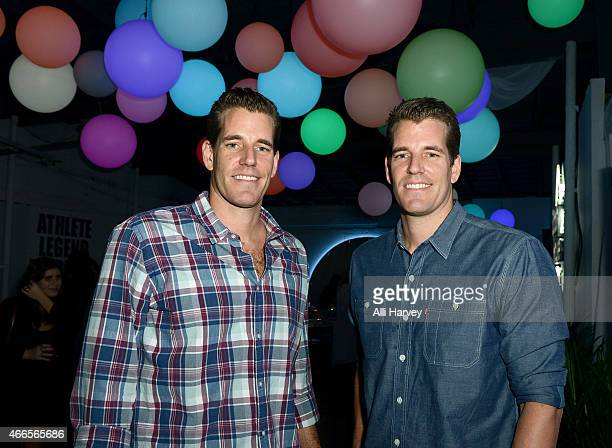 Cameron Winklevoss and Tyler Winklevoss attend Marie Claire Celebrates HBO's VEEP With Dinner Hosted By Spotify on March 16, 2015 in Austin, Texas.