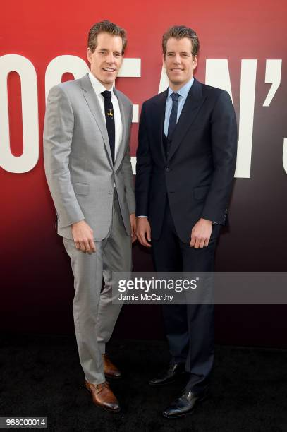 """Cameron Winklevoss and Tyler Winklevoss attend the """"Ocean's 8"""" World Premiere at Alice Tully Hall on June 5, 2018 in New York City."""