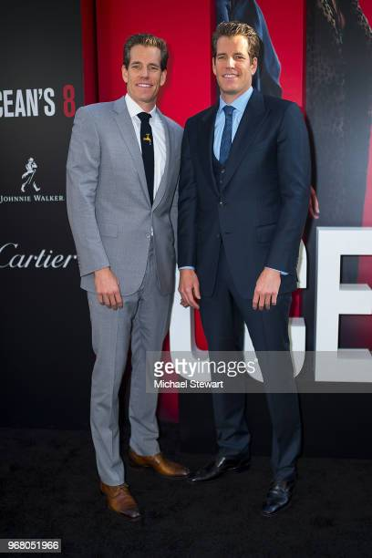 Cameron Winklevoss and Tyler Winklevoss attend the 'Ocean's 8' World Premiere at Alice Tully Hall on June 5 2018 in New York City