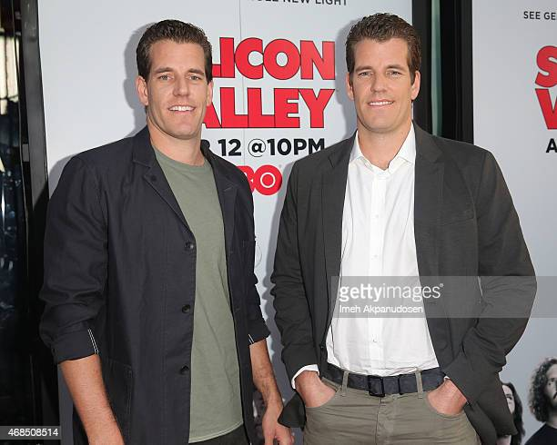 Cameron Winklevoss and Tyler Winklevoss attend the premiere of HBO's 'Silicon Valley' 2nd season at the El Capitan Theatre on April 2, 2015 in...