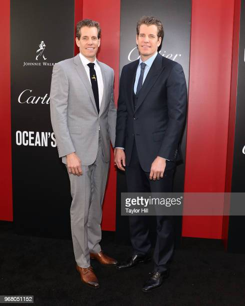 """Cameron Winklevoss and Tyler Winklevoss attend the world premiere of """"Ocean's 8"""" at Alice Tully Hall at Lincoln Center on June 5, 2018 in New York..."""
