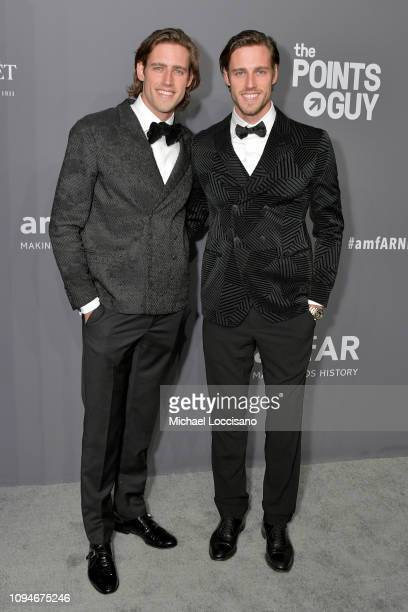 Cameron Winklevoss and Tyler Winklevoss attends the amfAR New York Gala 2019 at Cipriani Wall Street on February 6 2019 in New York City