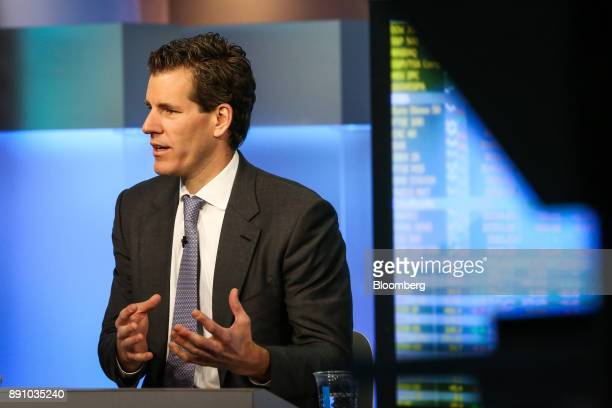 Cameron Winklevoss president and cofounder of Gemini speaks during a Bloomberg Television interview in New York US on Tuesday Dec 12 2017...