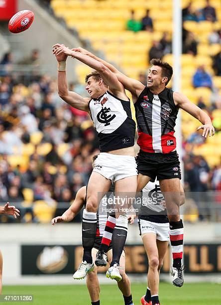 Cameron Wood of Carlton and Billy Longer of St Kilda compete for the ball during the round four AFL match between the St Kilda Saints and the Carlton...