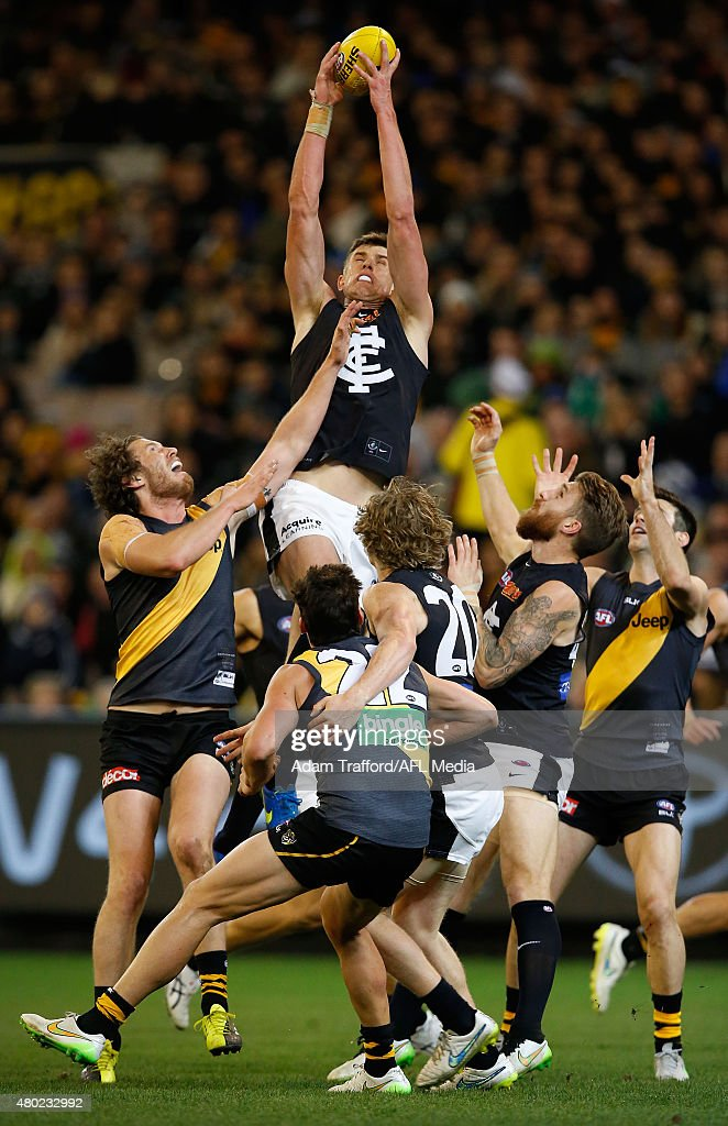 Cameron Wood of the Blues marks the ball during the 2015 AFL round 15 match between the Richmond Tigers and the Carlton Blues at the Melbourne Cricket Ground, Melbourne, Australia on July 10, 2015.