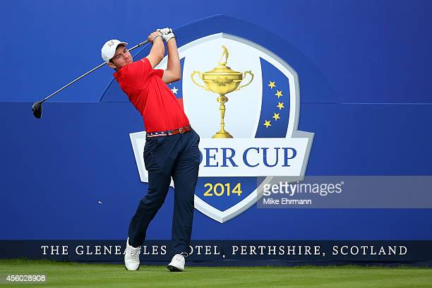 Cameron Young of Team USA hits a tee shot during the Friendship Match ahead of the 2014 Ryder Cup on the PGA Centenary course at the Gleneagles Hotel...