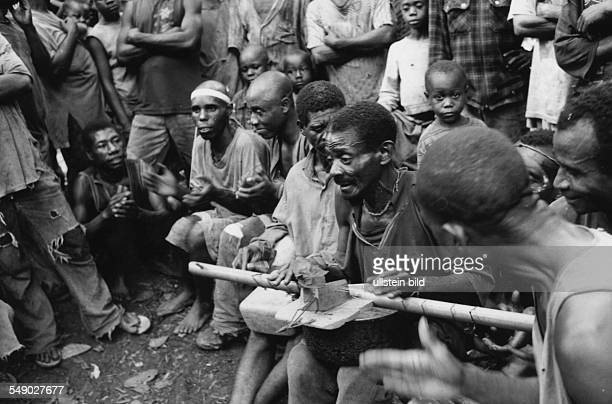 CMR Cameroon Africa Lomi Baka pygmies in the rain forest Here Baka string instrument