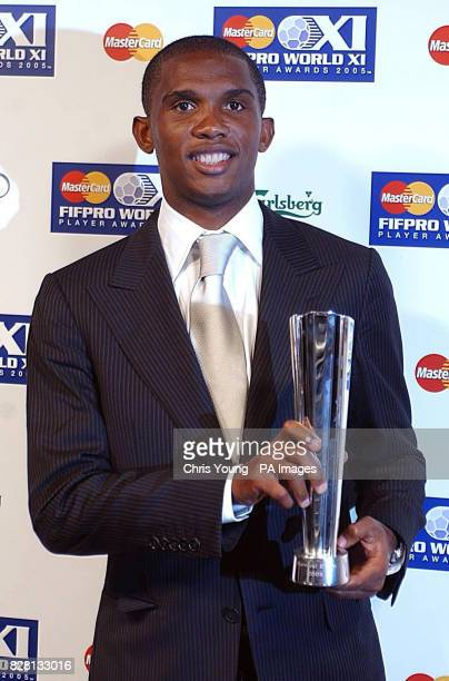 Cameroon and Barcelona's Samuel Eto'o with his Mastercard FIFPro World XI Player Award at the BBC TV Centre, Wood Lane, London, Monday September 19,...