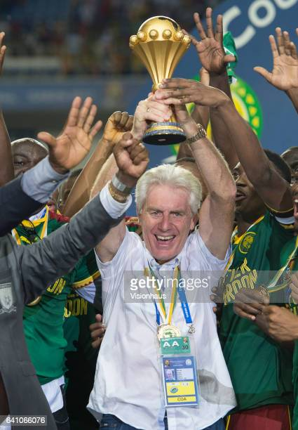 Cameroon Coach Hugo Broos celebrates winning the CAN 2017 FINAL between Egypt and Cameroon at Stade de L'Amitie on February 05 2017 in Libreville...