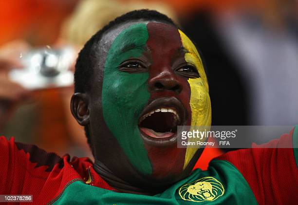Cameroon fan shows his colours before the 2010 FIFA World Cup South Africa Group E match between Cameroon and Netherlands at Green Point Stadium on...