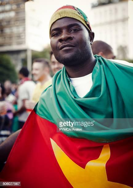 Cameroon football fan in the Fifa Fan Fest