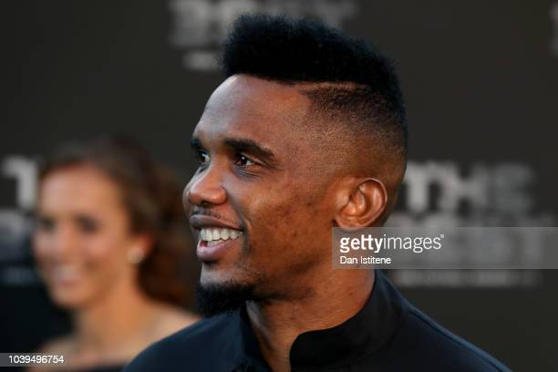Cameroon footballer Samuel Eto'o arrives on the Green Carpet ahead of The Best FIFA Football Awards at Royal Festival Hall on September 24 2018 in...