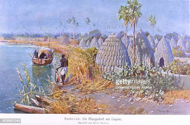 Cameroon German colony - a village on a lake. From 'Das Deutsche Kolonialreich' by Hans Meyer, 1909.
