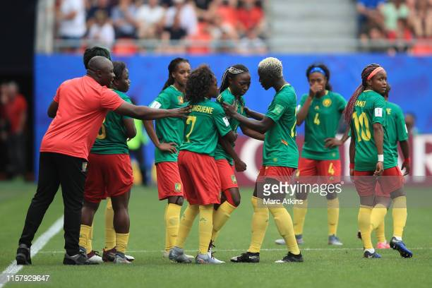 Cameroon Head Coach Alain Djeumfa reacts among his players after a VAR decision goes against them during the 2019 FIFA Women's World Cup France Round...
