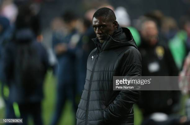 Cameroon head coach Clarence Seedorf looks on prior to the International Friendly match between Brazil and Cameroon at Stadium mk on November 20,...