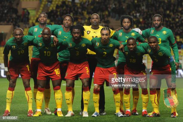 Cameroon line up prior to the International Friendly match between Italy and Cameroon at Louis II Stadium on March 3 2010 in Monaco Monaco