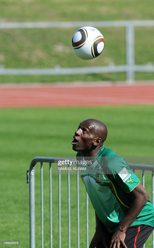 Cameroon national football player Geremi Njitap plays with a ball during practice session of his team at their training camp in Lienz in Austria on May 24, 2010 prior to the FIFA World Cup 2010 in South Africa.
