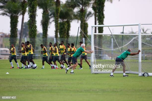 Cameroon national football team players attend a training session at Agondje Stadium in Libreville on February 3 2017 two days ahead of the final of...