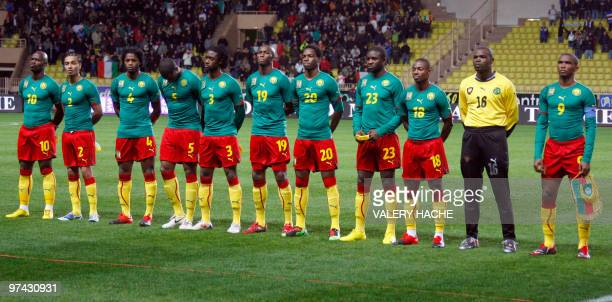 Cameroon national football team players pose before their friendly football match Italy vs Cameroon on March 03 2010 at Louis II stadium in Monaco...