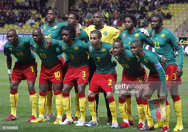 Cameroon national football team players pose before their friendly football match Italy vs Cameroon on March 3 2010 at Louis II stadium in Monaco...