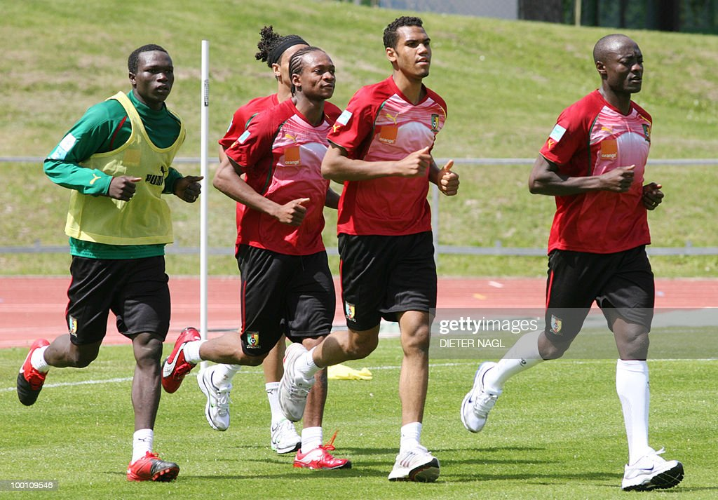 Cameroon national football team players run during a training session on May 21, 2010 in Lienz, some 550 kilometers southwest from Vienna. The Cameroon national team on May 20 arrived in Austria for a training camp ahead of the June 11-July 11 World Cup in South Africa.The team and coach Paul Le Guen touched down in the southeastern city of Klagenfurt and headed immediately for Lienz, where they will be based until May 28.