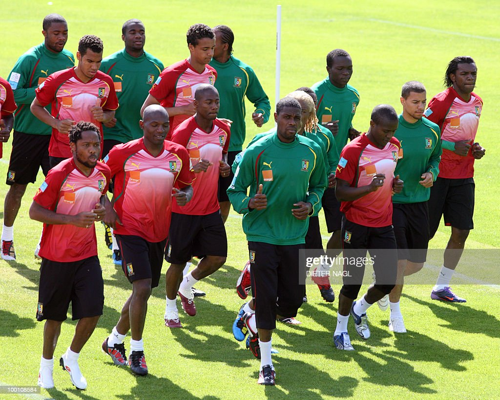 Cameroon national football team players start their training session on May 21, 2010 in Lienz, some 550 kilometers southwest from Vienna. The Cameroon national team on May 20 arrived in Austria for a training camp ahead of the June 11-July 11 World Cup in South Africa.The team and coach Paul Le Guen touched down in the southeastern city of Klagenfurt and headed immediately for Lienz, where they will be based until May 28.