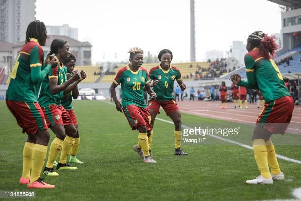 Cameroon players celebrate a goal during CFA team China international Women's football tournament Wuhan 2019 between Cameroon and Croatia at Hankou...