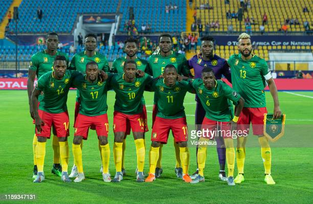 Cameroon players pose for a team photograph before the 2019 Africa Cup of Nations Group F match between Cameroon and Guinea-Bissau at Ismailia...