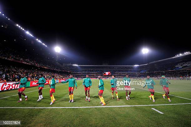 Cameroon players warm up prior to the 2010 FIFA World Cup South Africa Group E match between Cameroon and Denmark at Loftus Versfeld Stadium on June...
