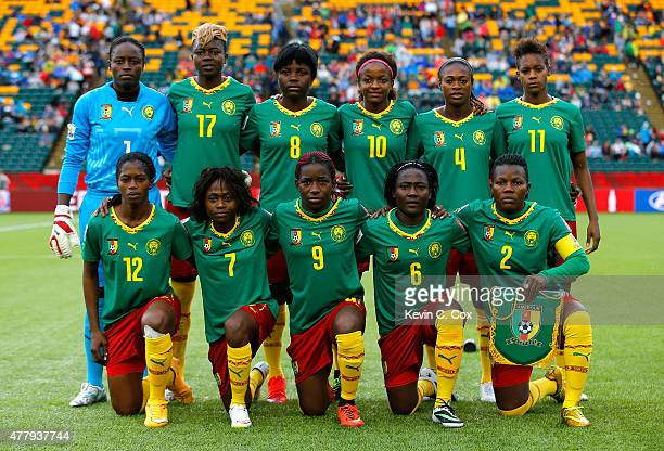 Cameroon poses for a team photo prior to the FIFA Women's World Canada 2015 Round of 16 match between China PR and Cameroon at Commonwealth Stadium...