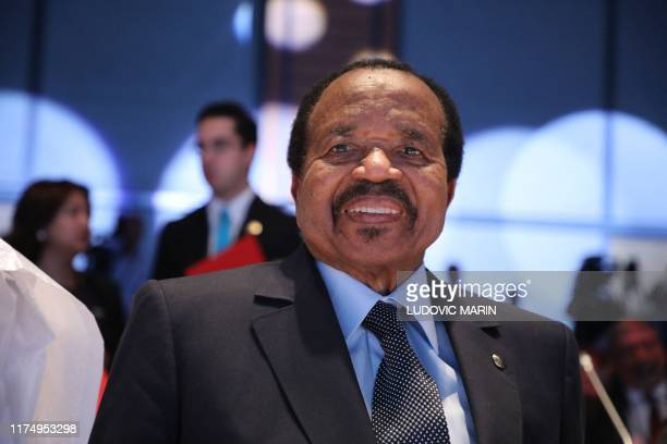 Cameroon president Paul Biya arrives on the second day of the conference of Global funf to fight HIV, tuberculosis and Malaria on October 10 in Lyon....