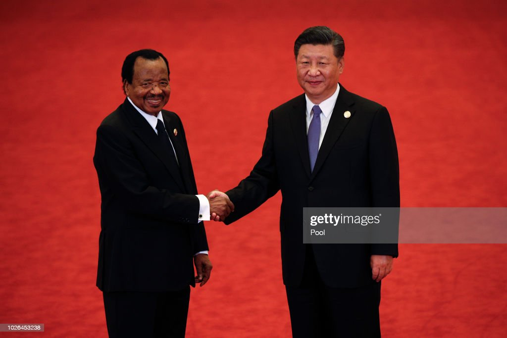 Cameroon President Paul Biya, left, shakes hands with Chinese President Xi Jinping during the Forum on China-Africa Cooperation held at the Great Hall of the People on September 3, 2018 in Beijing, China.