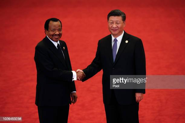 Cameroon President Paul Biya, left, shakes hands with Chinese President Xi Jinping during the Forum on China-Africa Cooperation held at the Great...
