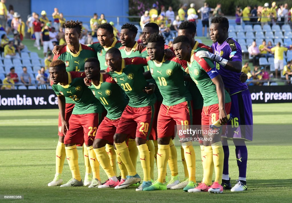 Cameroon squad line up before the friendly football match Cameroon vs Colombia at the Col. Alfonso Perez stadium in Getafe on June 13, 2017. /