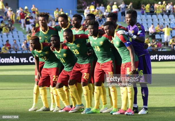 Cameroon squad line up before the friendly football match Cameroon vs Colombia at the Col Alfonso Perez stadium in Getafe on June 13 2017 / AFP PHOTO...