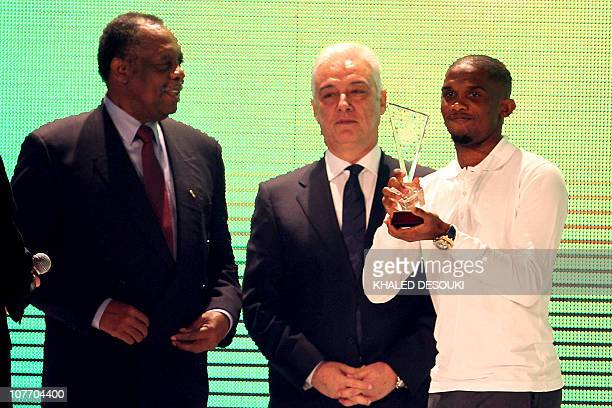 Cameroon striker Samuel Eto'o is awarded African Footballer of the Year 2010 a record fourth time at the annual CAF awards ceremony in Cairo on...