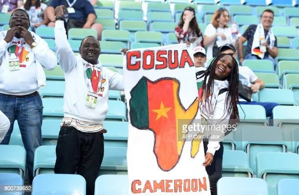 Cameroon supporters cheer ahead of the 2017 FIFA Confederations Cup group B football match between Germany and Cameroon at the Fisht Stadium Stadium...