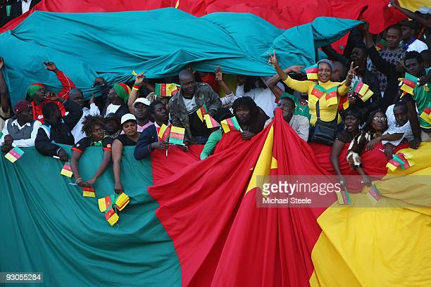 Cameroon supporters during the Morocco v Cameroon FIFA2010 World Cup Group A qualifying match at the Complexe Sportif on November 14 2009 in Fes...