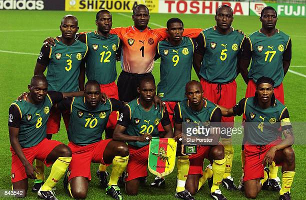 Cameroon team group taken before the FIFA World Cup Finals 2002 Group E match between Germany and Cameroon played at the Shizuoka Stadium Ecopa in...