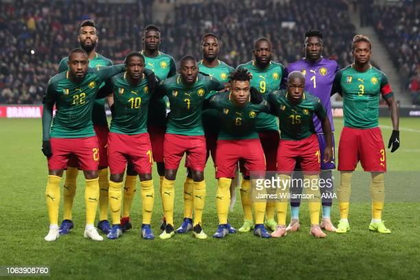 Cameroon team line up during the International Friendly match between Brazil and Cameroon at Stadium mk on November 20, 2018 in Milton Keynes,...