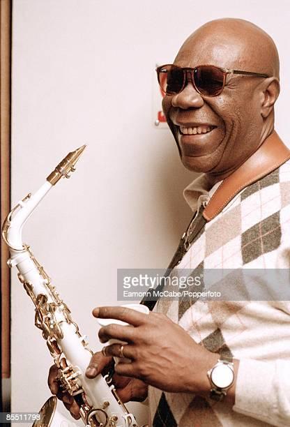 Cameroonian afrobeat musician Manu Dibango posed in London circa 2000