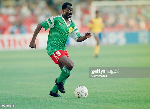 Cameroonian footballer Roger Milla in action against Colombia during the knockout stage of the World Cup at the Stadio San Paolo Naples Italy 23rd...