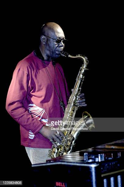 Cameroonian musician Manu Dibango performs live on stage at Ronnie Scott's Jazz Club in Soho London on 7th November 2005