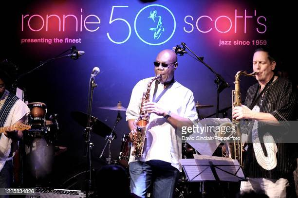 Cameroonian musician Manu Dibango performs live on stage at Ronnie Scott's Jazz Club in Soho London on 25th February 2009