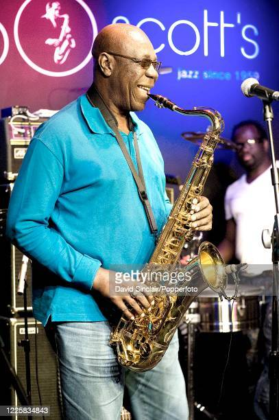Cameroonian musician Manu Dibango performs live on stage at Ronnie Scott's Jazz Club in Soho London on 7th October 2010