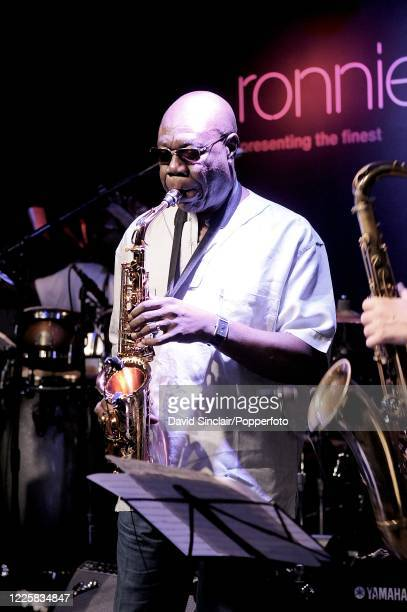 Cameroonian musician Manu Dibango performs live on stage at Ronnie Scott's Jazz Club in Soho, London on 25th February 2009.