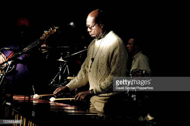 Cameroonian musician Manu Dibango performs live on stage at Ronnie Scott's Jazz Club in Soho London on 25th November 2002
