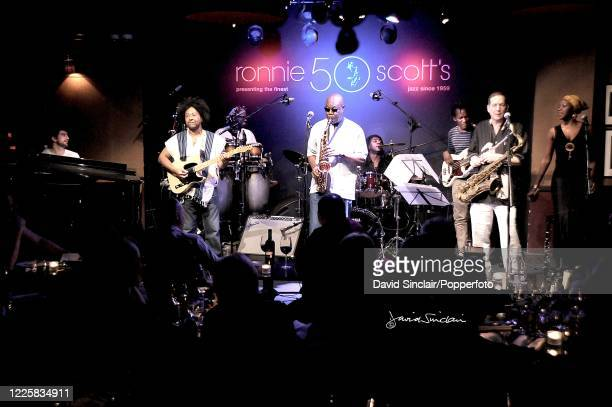 Cameroonian musician Manu Dibango performs live on stage with his band at Ronnie Scott's Jazz Club in Soho, London on 25th February 2009.